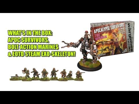 What's in the Box: Apoc Survivors, Bolt Action Marines & EOTD Steam Exo-Skeleton!