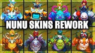 All Nunu Skins Spotlight Rework 2018 Nunu Bot Grungy Zombie Demolisher (League of Legends)