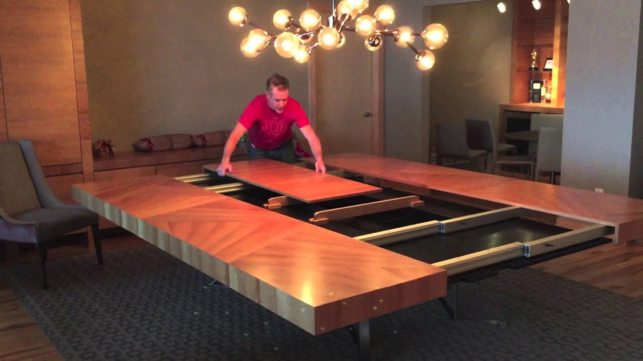 Modern Cherry Veneer Dining Table With Giant Leaf
