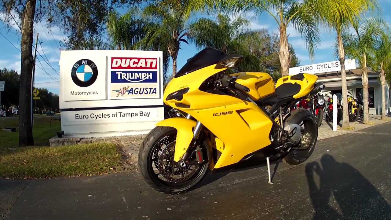2008 Ducati 1098 in Yellow at Euro Cycles of Tampa Bay - YouTube