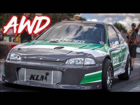 1300HP AWD Honda Civic - Amazing 4 Cylinders Battle!