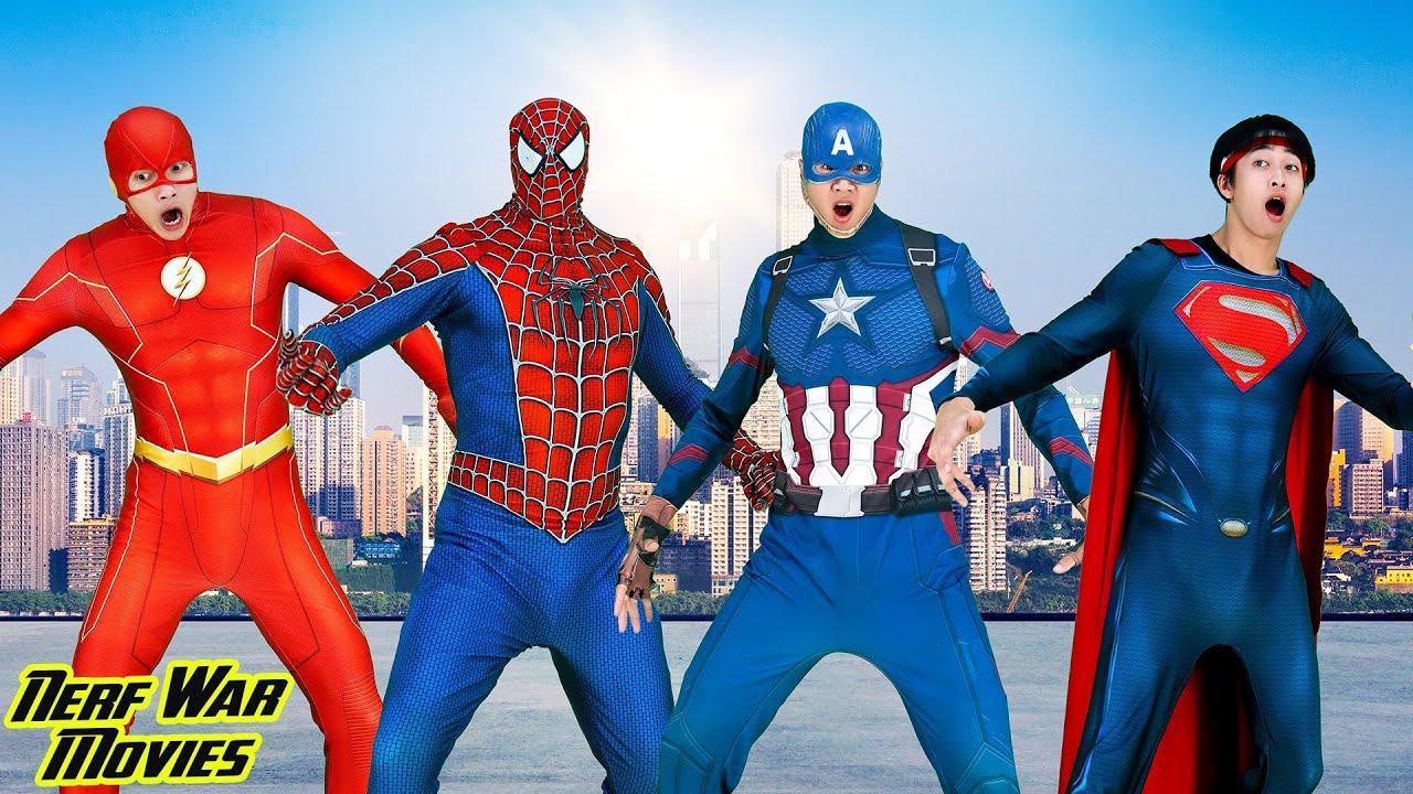 Nerf War Movies: Captian X Warriors Nerf Guns Fight Criminal Group Rescue Fat Superheroes