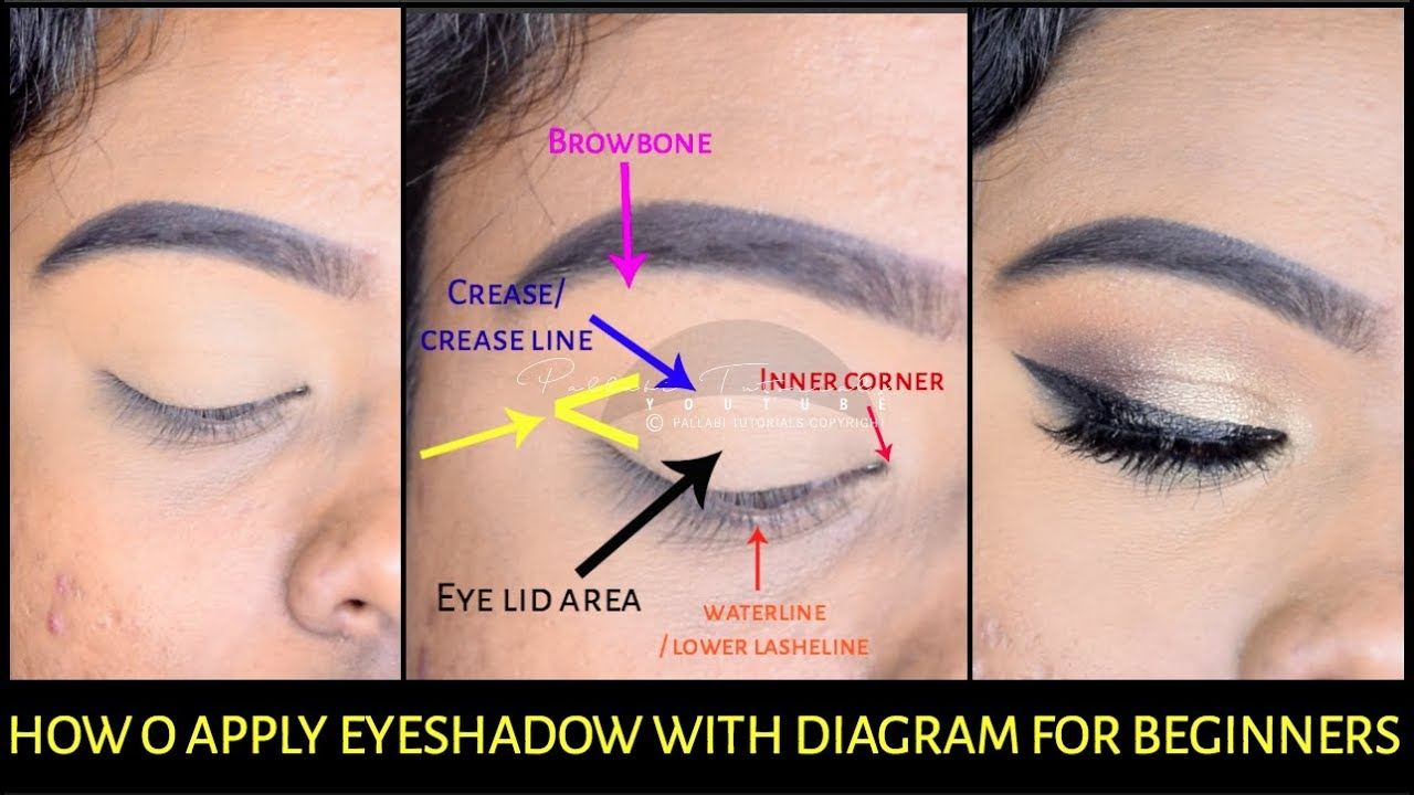 how to do eyemakeup for beginners with diagram india kolkata rh youtube com Eyeshadow Application Techniques Chart Eyeshadow Application Map