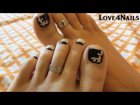 Uñas De Los Pies Decoradas Blanco Y Negro Youtube