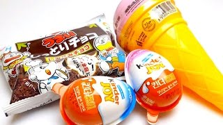 Kinder Surprise Joy Eggs From Korea, Doraemon Cookies & Ice Cream Cone Lollipops Sweets
