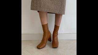 윈터 스퀘어 토우 기모안감 스판 앵클부츠힐 (7cm)