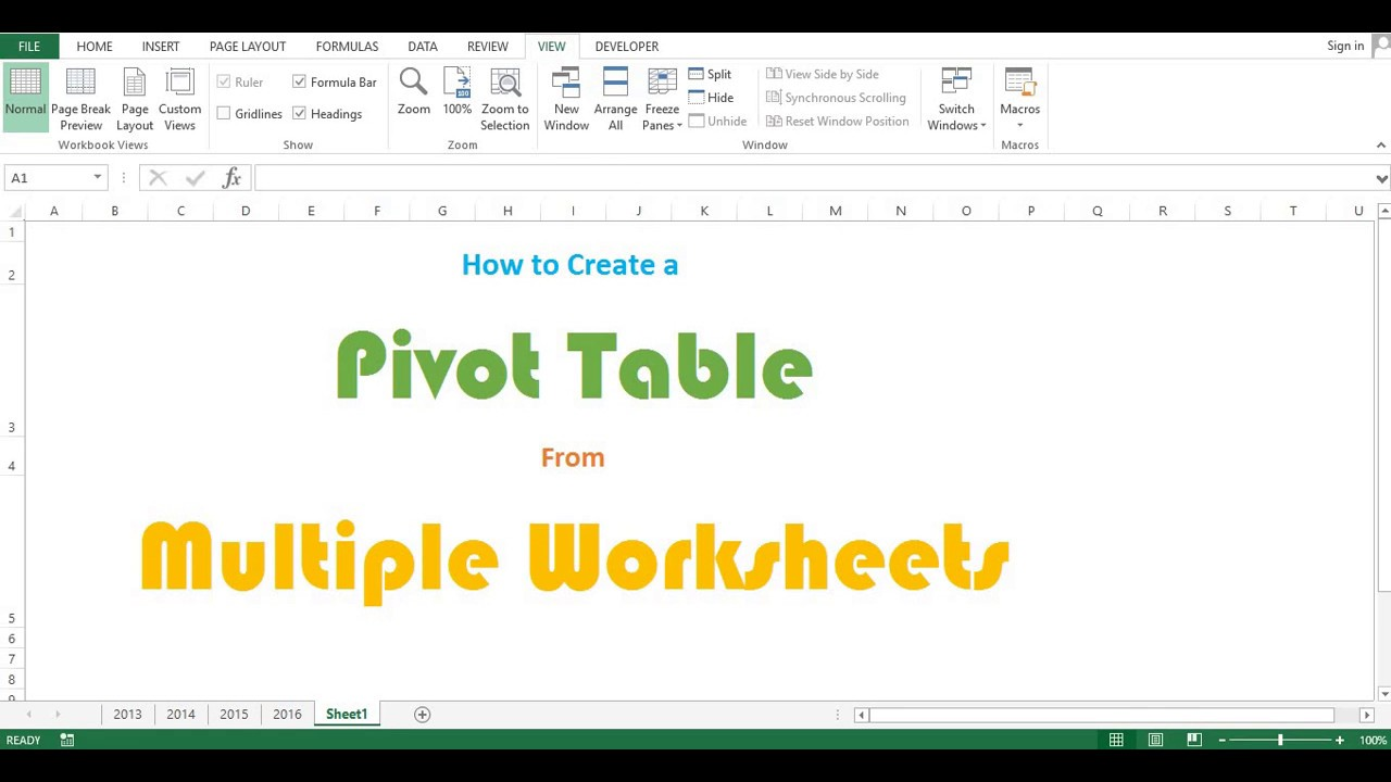 How to Create a Pivot table from multiple worksheets - YouTube