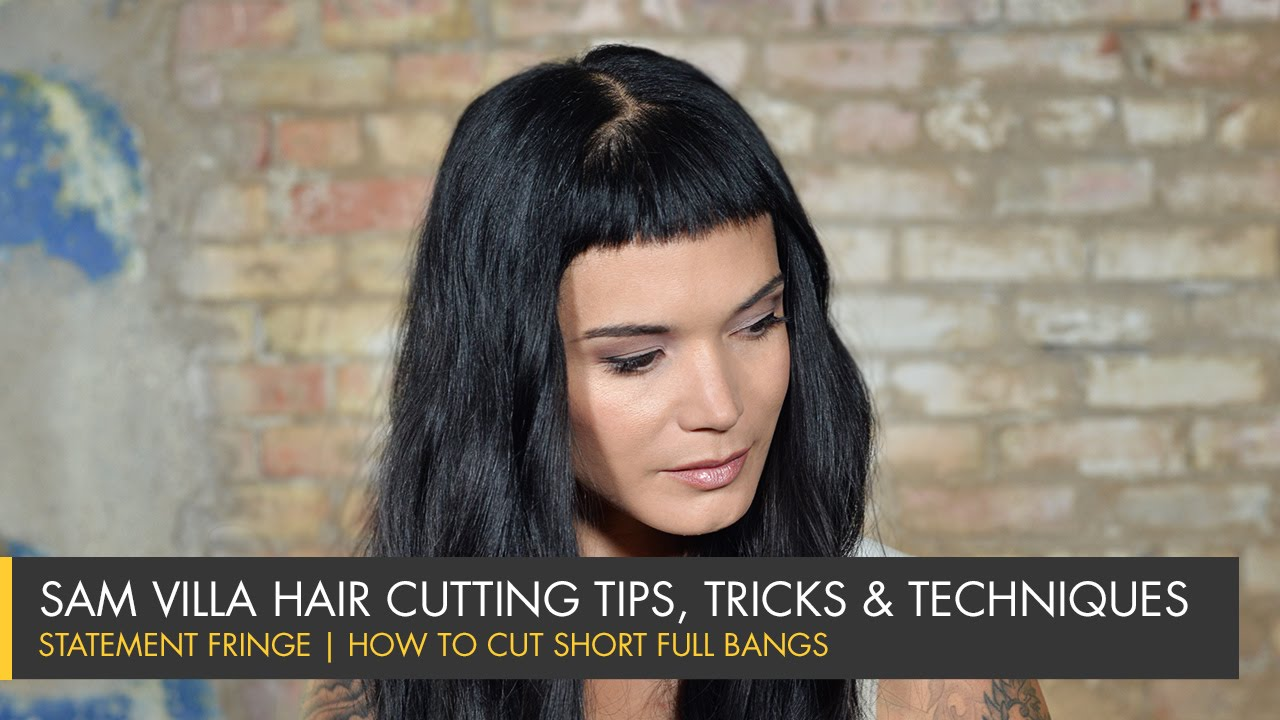 Statement Fringe | How To Cut Short Full Bangs   YouTube