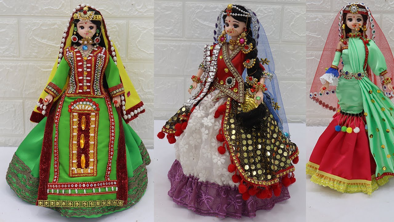 3 South indian bridal dress and Jewellery (^.^) Doll decoration ideas