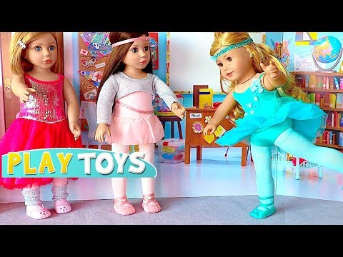 Thumbnail: Baby Doll School Lunch food toys & AG Doll Ballet class w/ doll dress up Ballerina Gymnastics outfit