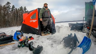 SEVEN DAYS BELOW ZERO: Epiṡode 1: Winter Tent Camping while Ice Fishing in Northern Maine