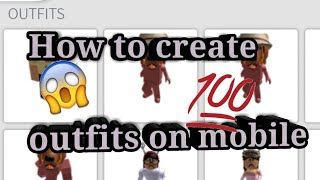 How to create outfits on mobile ROBLOX