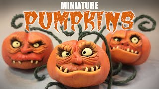 How To Make Halloween MINIATURE PUMPKIN DECOR / JACK-O-LANTERN / Polymer Clay Tutorial