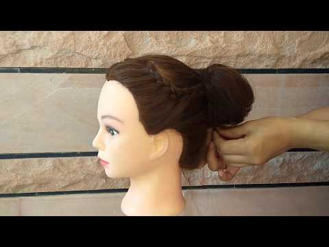 EASY BUN HAIRSTYLE FOR GIRLS \\ HIGN PONYTAIL WITH FRENCH BRAID FOR GIRLS thumbnail