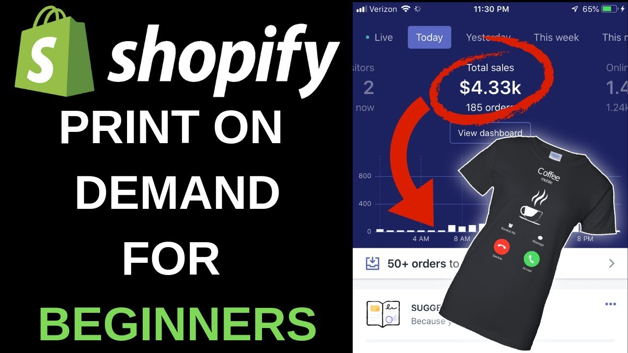 Shopify Print On Demand Tutorial 2019 | Start A T Shirt Business In Under 1  Hour