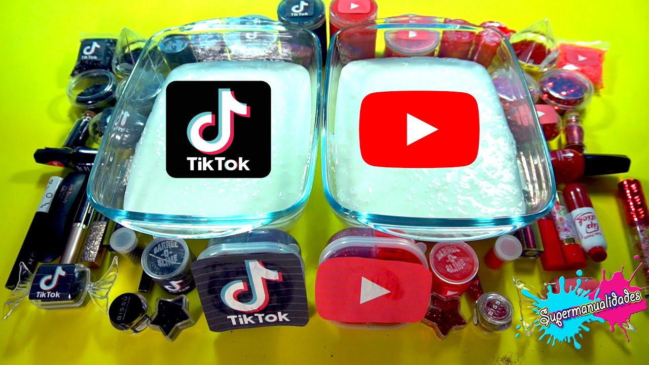 Mezclando Slime de Tiktok VS Youtube (rojo vs negro) - Supermanualidades