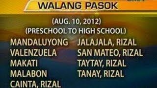 UB: Mga eskwelahan na walang pasok ngayong araw (Aug. 10, 2012)