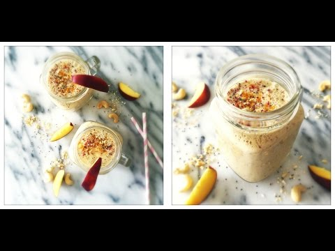 Peaches & Cream Smoothie (Easy Raw Vegan Ice Cream Milkshake)