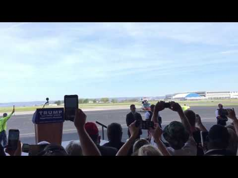 """Best entrance by Trump to a rally (by helicopter, from the horizon, to """"Air Force One"""" theme)"""