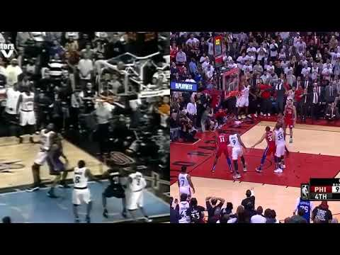 Kawhi Leonard's Game-winning Shot & Vince Carter Missed Shot Against 76ers Side By Side