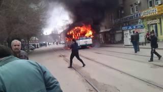 Как горел трамвай на Анголенко в Запорожье