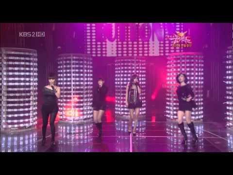 [HD] Buttons @ Music Bank - Taeyeon (SNSD) & Sunye (WG) & Gyuri (See Ya) & GaIn (BEG)