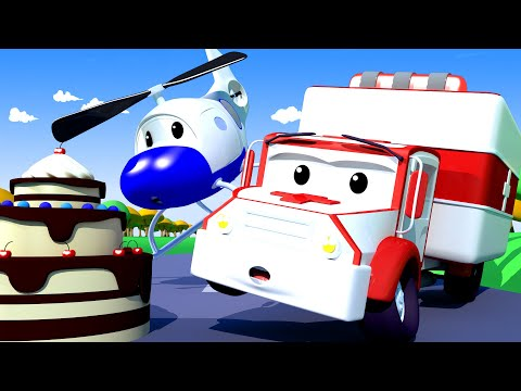 Hector the HELICOPTER is allergic to NUTS! - Amber the Ambulance in Car City l Cartoons for Children