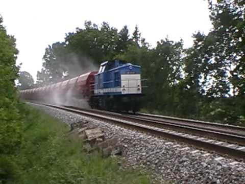 Spitzkes V 100 med skævertog på Sydbanen