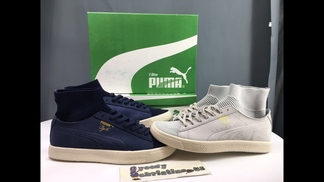 b20d79385f3 PUMA CLYDE SOCK NYC GREY AND NAVY BLUE DETAILS REVIEW - YouTube
