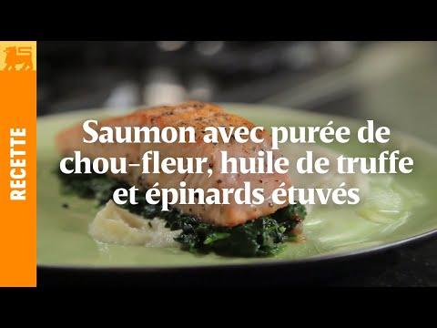 Saumon mi-cuit et purée de chou-fleur