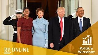 Die Obamas begrüßen Donald und Melania Trump am Weißen Haus