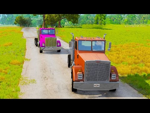 SEMI TRUCK CHASE AND CANYON JUMPING! - BeamNG Drive Chase and Pursuit Scenario Pack
