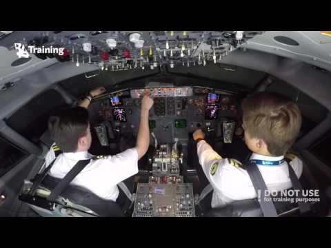 CPL modular training program students try to operate  B737 Full Flight Simulator - BAA Training