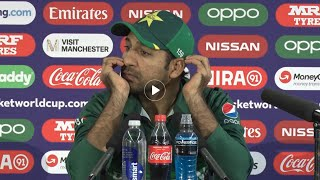 Sarfaraz Ahmed press Confrence after losing against India CWC19 Curtesy by ICC