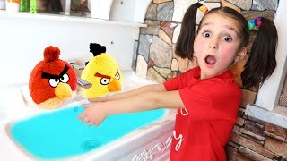 Angry Birds Toys Playing with Fatima and Ismet