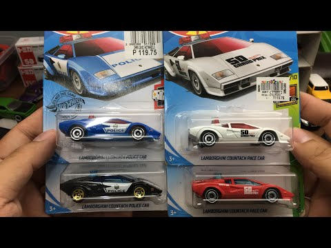 Hot Wheels Lamborghini Countach Police / Pace Car complete Set Showcase