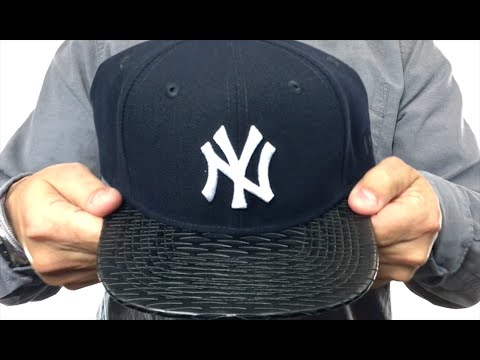 c3a6e7b72d2 Yankees  LEATHER-RIP SNAPBACK  Navy-Black Hat by New Era - YouTube