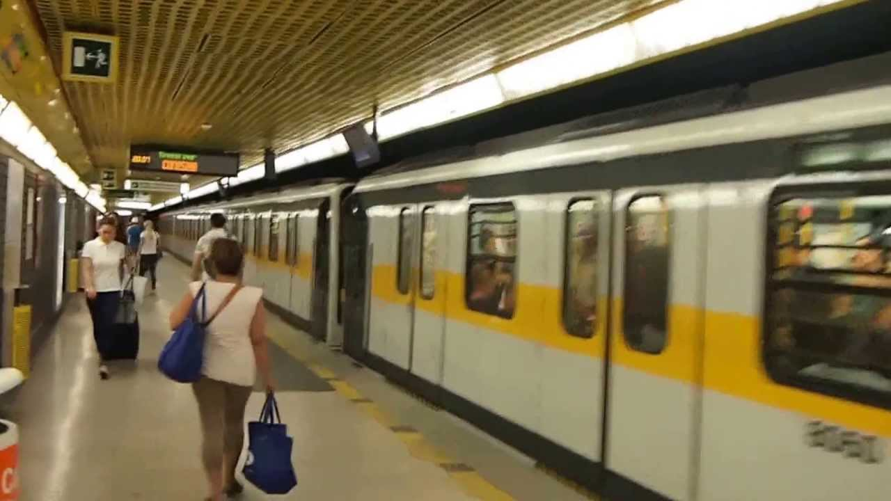 Riding the M3 subway train from Duomo to Milano Centrale ...
