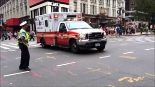 FDNY EMS AMBULANCE RESPONDING W. 34TH ST. & 6TH AVE. IN MIDTOWN, MANHATTAN IN NEW YORK CITY.
