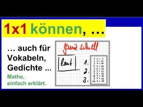 Einmaleins Lernen 1x1 üben Ganz Schnell Können Auch Für Vokabeln Gedichte Usw
