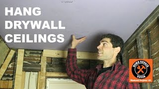 Hang Drywall on Ceiling by Yourself...Bathroom Tips (Step-by-Step) -- by Home Repair Tutor