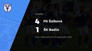 1.polčas, FK Šalková - ŠK Badín, 18.8.2018 - 19:00