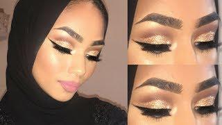 EID MAKEUP | Gold Glitter Cut Crease Tutorial | Sabina Hannan