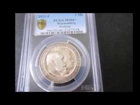 Numismatic and Certified Silver Coins and MS 62 plus gold coins