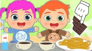 BABY ALEX AND LILY ☕ Learn How to Make Churros and Chocolate Sauce | Easy Recipes for Children