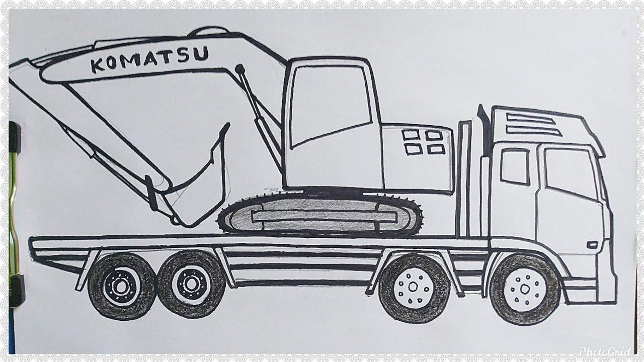 Cara Mudah Menggambar Mobil Truk Mengangkut Alat Berat Excavator Tutorial Indonesia Youtube