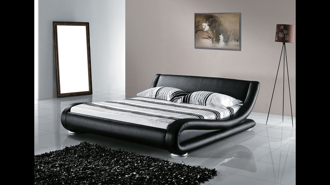 Beliani leather water bed super king size full set avignon eng youtube - Lit king size 180x200 ...