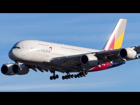 Asiana Airbus A380-800 (A388) landing & departing Los Angeles (LAX/ KLAX)