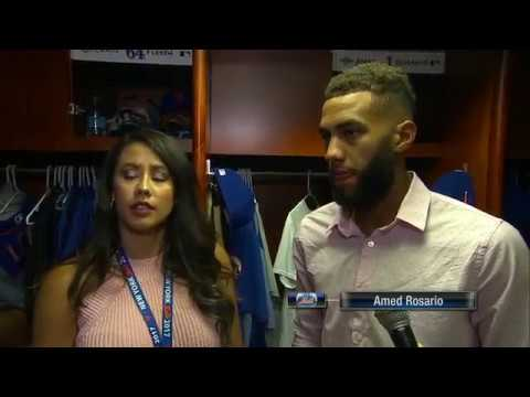 New York Mets shortstop Amed Rosario reacts to big league debut