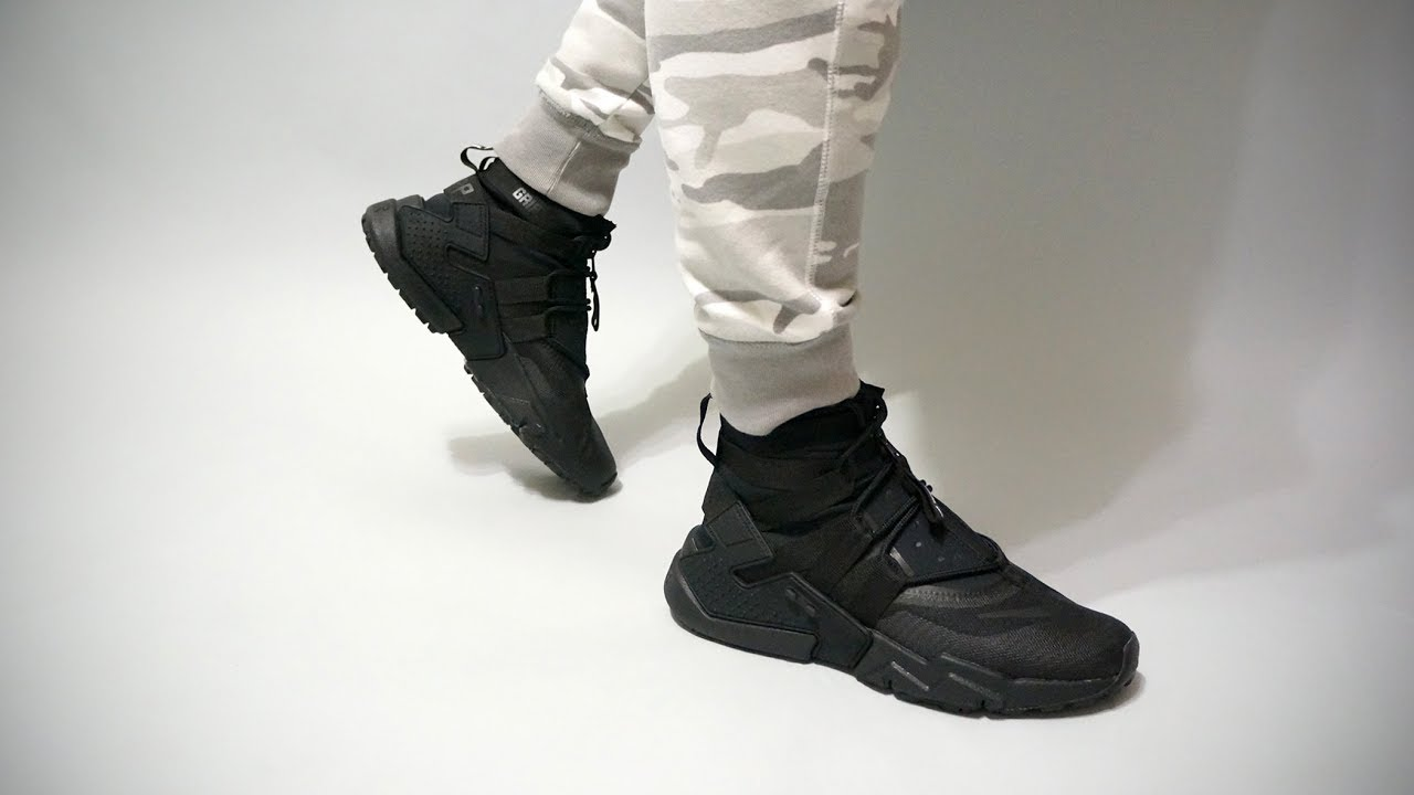 d498362559944f Nike Air Huarache Gripp Black AO1730-002 on feet - YouTube